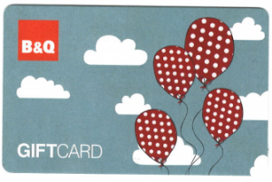 B&Q gift card - balloons design. Check gift card balance for B&Q