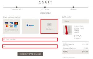 Coast Giftcard Balance Location