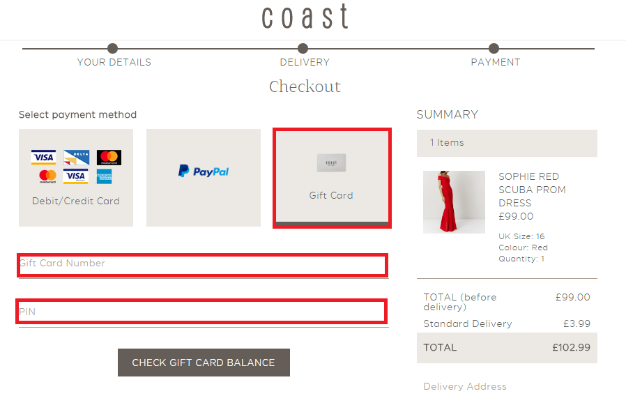 Coast Giftcard Balance Location